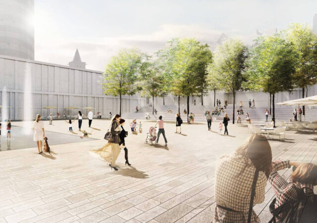 3D Visualisierung Rathausvorplatz für Wettbewerb